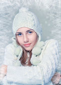 Woman in warm clothing — Stock Photo