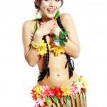 Постер, плакат: Girl with Hawaiian thumbs up