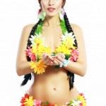 Постер, плакат: Girl with Hawaiian accessories