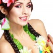 Постер, плакат: Girl with Hawaiian accessories