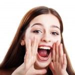 Teen girl loud screaming — Stock Photo
