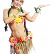 Girl Hawaiian inviting and smiling — Stock Photo
