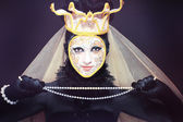 Venetian mask make up — Stock Photo