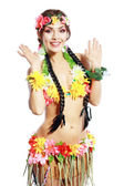 Girl with Hawaiian accessories — Stock Photo