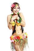 Girl with Hawaiian thumbs up — Stock Photo