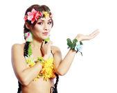 Hawaiian girl showing open palm — Stock Photo