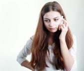 Girl getting bad news — Stock Photo