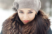 Sensual brunette in cold winter — Stock Photo