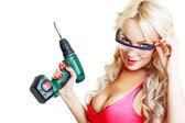 Blond woman with drill — Stock Photo