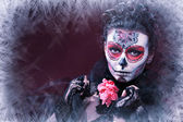 Winter make up  skull — Stock Photo