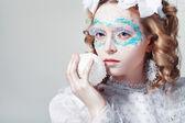 Kvinna med winter stil — Stockfoto