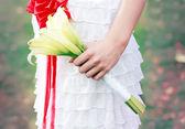 Bride  holding bouquet — Stock Photo