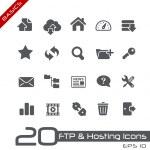 ftp & hosting iconen // basics serie — Stockvector