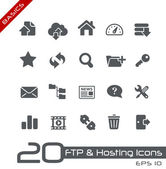 Ftp & hosting iconen // basics serie — Stockvector