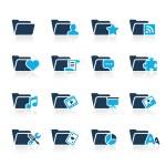 Folder Icons - 2 // Azure Series — Stock Vector