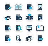 Iconos de libro // series azul — Vector de stock