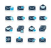 E-mail pictogrammen // azuurblauwe serie — Stockvector