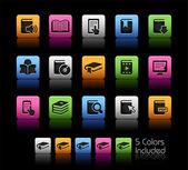 Iconos de libro // caja de color — Vector de stock