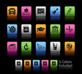 Education Icons // Color Box — Stock Vector