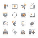 Коммуникации иконы - графит серии — Cтоковый вектор