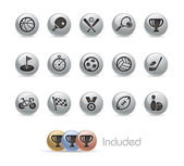 Sport Icons -- Metal Round Series — Stock Vector