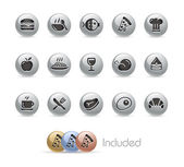 Food Icons - Set 1 of 2 -- Metal Round Series — Stock Vector