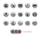 School & Education Icons -- Metal Round Series — Vector de stock