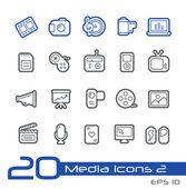 Media Icons -- Line Series — Stock Vector