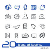 Social Network Icons -- Line Series — Stock Vector