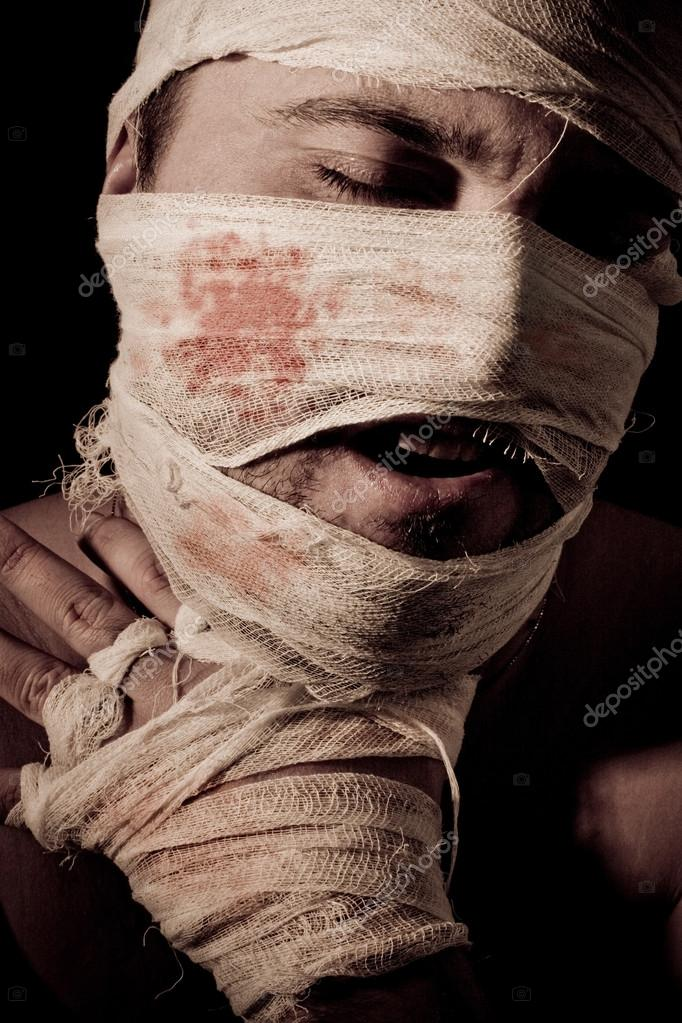 Obverse portrait of a mummy wound with bandage — Stock Photo #13480916