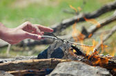 Hand in the fire — Stock Photo