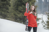 Woman with ski — Stock Photo