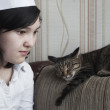 Girl with cat — Stock Photo #46821609