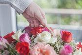 El ile çiçek — Stok fotoğraf