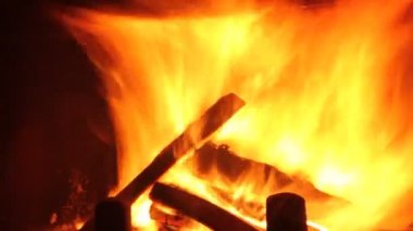 Wood burning in the fireplace — Stock Video