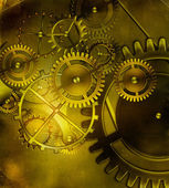 Steampunk old gear mechanism on the background of old vintage pa — Stock Photo