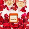 Wedding rings of rose petals — Stock Photo #13818831