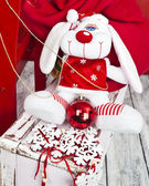 Puppy santa claus — Stockfoto