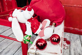 Puppy santa claus — Stock Photo