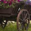 Old wooden cart with pots flowers — Stock Photo #18684757