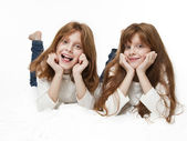 Red girl twins — Stock Photo