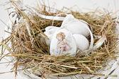 复活节彩蛋装饰的篮子里 — 图库照片