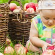 Little girl with a basket of red apples — Stock Photo