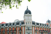 Historic buildings with lace fronts of Madrid — Stock Photo