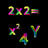 Bright colorful numbers on black background — ストックベクタ