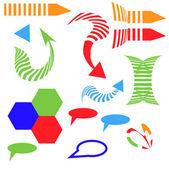 Vecteur flèches set flèche isométrique différents signe — Vecteur