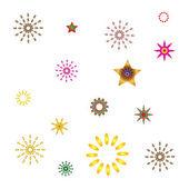 Set abstract spherical luminous gold stars — Stock Vector