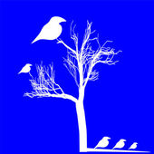 White birds figure isolated over blue — Stock Vector