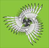 Spirala współczesnej ornament biały kolorowy — Wektor stockowy