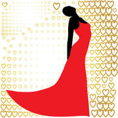 Black silhouette of beautiful woman in red dress — Stock Vector